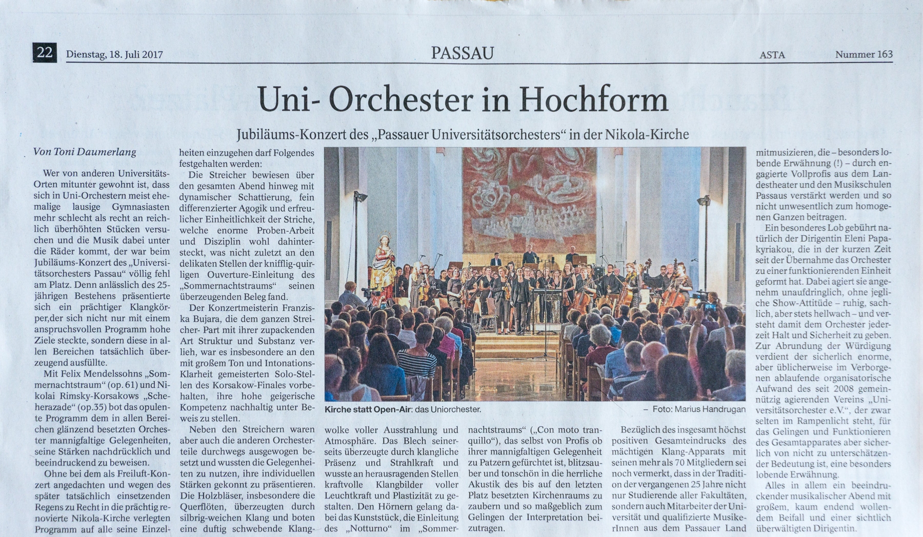 Uni-Orchester Passauer Neuen Presse PNP Handrugan